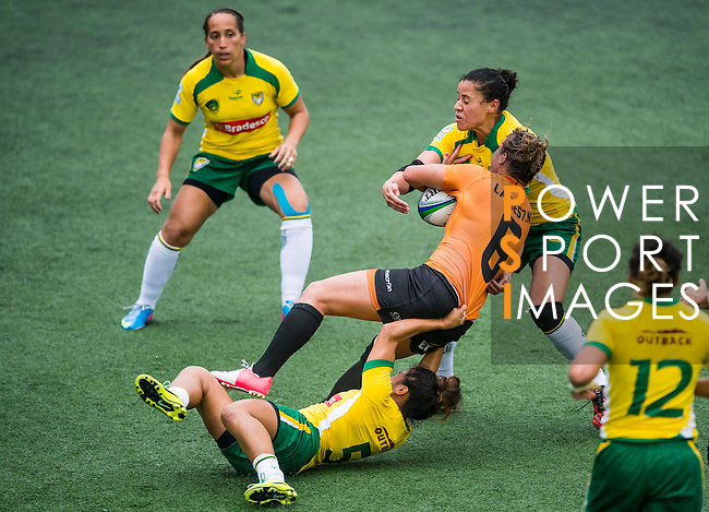 Brazil vs Netherlands during the Day 1 of the IRB Women's Sevens Qualifier 2014 at the Skek Kip Mei Stadium on September 12, 2014 in Hong Kong, China. Photo by Aitor Alcalde / Power Sport Images