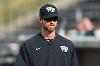 Wake Forest Demon Deacons assistant coach Matt Hobbs (31) prior to the game against the Clemson Tigers at David F. Couch Ballpark on March 12, 2016 in Winston-Salem, North Carolina.  The Tigers defeated the Demon Deacons 6-5.  (Brian Westerholt/Four Seam Images)