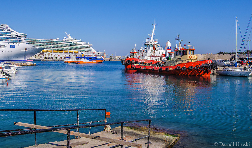 Fine Art Landscape Print Photograph of  a colourful, Greek, port with ships and boats, docked in the Scenic port of Rhodes, Greece.
