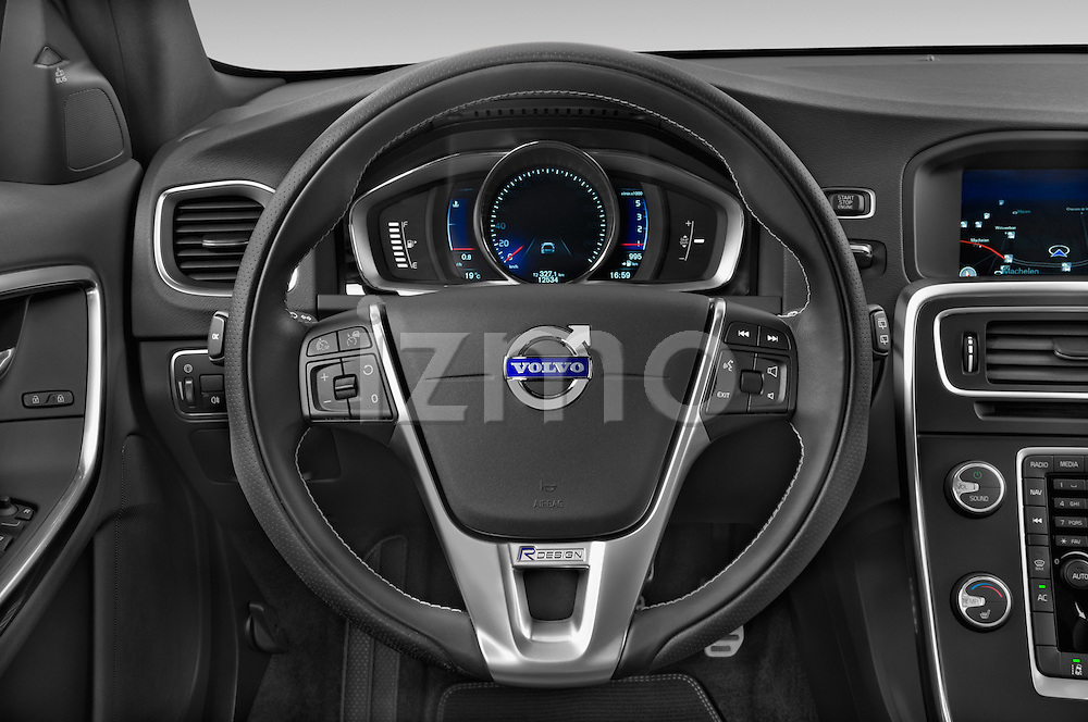 Car pictures of steering wheel view of a 2014 Volvo V60 Summum R-design 5 Door Wagon 2WD Steering Wheel