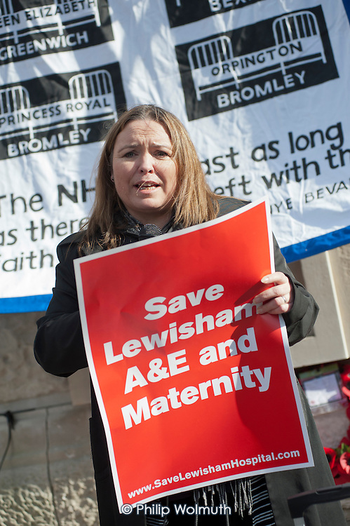 Nurse and Unison member Harriet O'Hara.  Health workers, patients, local residents and trade unions take part in a Save Lewisham Hospital Campaign rally outside the hospital to protest at proposed closure of A&E and maternity services.