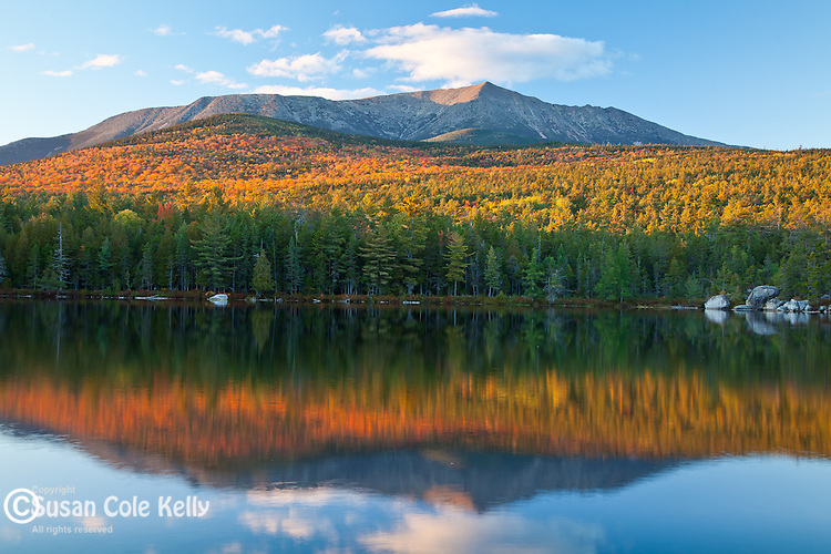 View of Mount Katahdin from Round Pond in Baxter State Park, Piscataquis County, ME, USA