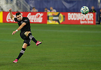 20th November 2020, Nashville, TN, USA;  Inter Miami midfielder Lewis Morgan takes a free kick shot at goal during an MLS Cup Playoffs Eastern Conference Play-In game between Nashville SC and Inter Miami, November 20, 2020 at Nissan Stadium