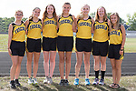 August 28, 2017- Tuscola, IL- The 2017 Tuscola Warrior Girls Cross Country team. From left are Samantha Simpson, Brynn Tabeling, Jackie Watson, Kenzie Heckler, Hannah Hornaday, Ashton Smith, and Emma Zimmer.  [Photo: Douglas Cottle]