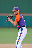 Freshman pitcher Andrew Papp (45) of the Clemson Tigers of Raleigh, N.C., in a fall practice intra-squad Orange-Purple scrimmage on Saturday, September 26, 2015, at Doug Kingsmore Stadium in Clemson, South Carolina. (Tom Priddy/Four Seam Images)