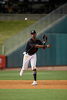 Birmingham Barons third baseman Ti'Quan Forbes (10) throws to first base during a Southern League game against the Chattanooga Lookouts on May 2, 2019 at Regions Field in Birmingham, Alabama.  Birmingham defeated Chattanooga 4-2.  (Mike Janes/Four Seam Images)