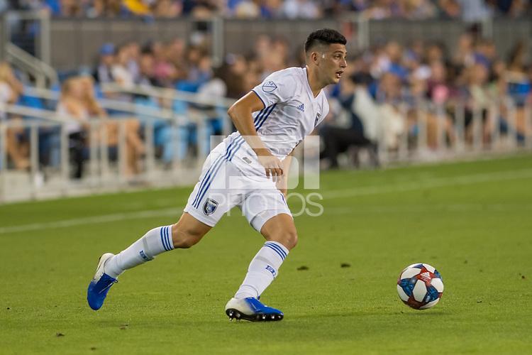 SAN JOSÉ CA - JULY 27: Cristian Espinoza #10 during a Major League Soccer (MLS) match between the San Jose Earthquakes and the Colorado Rapids on July 27, 2019 at Avaya Stadium in San José, California.