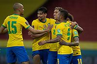 4th June 2021; Beira-Rio Stadium, Porto Alegre, Brazil; Qatar 2022 qualifiers; Brazil versus Ecuador; Players of Brazil celebrates scored penalty kick goal by Neymar in the 94th minute 2-0