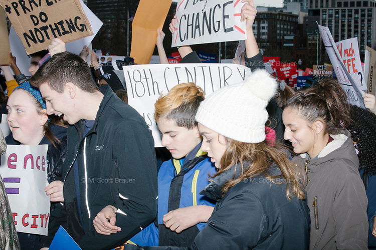 Students enter Boston Common after marching to the park from Roxby Crossing during the March For Our Lives protest and demonstration in Boston, Massachusetts, USA, on Sat., March 24, 2018. The march was held in response to recent school gun violence.