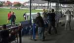 Shildon fans and officials celebrate their teams 88th minute equaliser, as Whitby fans look on. Whitby Town 3 Shildon 2, FA CUP 1st Round Qualifying, 15th September 2007.