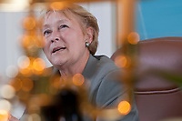 PQ leader Pauline Marois gestures as she talk to a reporter during a site down interview at her office in the National Assembly in Quebec City Tuesday April 12, 2011.<br /> <br /> PHOTO :  Francis Vachon - Agence Quebec Presse