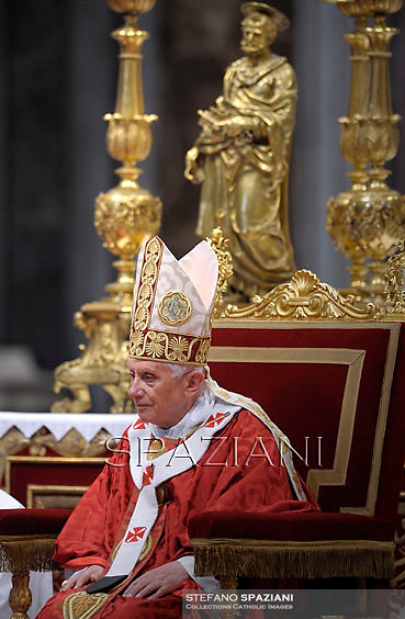 Pope Benedict XVI holds a mass and bestows the pallium on 44 new metropolitan archbishops at Saint Peter's Basilica during the feast of Saint Peter and Saint Paul on June 29, 2012