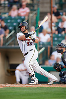 Rochester Red Wings catcher Juan Graterol (52) follows through on a swing in front of catcher Logan Moore (35) during a game against the Lehigh Valley IronPigs on June 30, 2018 at Frontier Field in Rochester, New York.  Lehigh Valley defeated Rochester 6-2.  (Mike Janes/Four Seam Images)