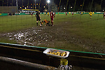 Belper Town v Gresley, 28/01/2014. Christchurch meadow, Northern Premier League. A discarded portion of chips resting on the perimeter fence during the second-half of Belper Town's match against Gresley (in red), in a Northern Premier League, first division south fixture at Christchurch meadow. The home side have played at their current ground since the club was reformed in 1951. Belper won this fixture against their local Derbyshire rivals by 4 goals to 1 watched by a crowd of 165 spectators. Photo by Colin McPherson.