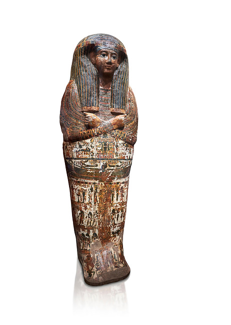 Ancient Egyptian sarcophagus of Royal scribe Butehamon, Thebes, 21st Dynasty, reign of Ramese XI, (1078 or 1077 BC ). Egyptian Museum, Turin. white background<br /> Butehamon was a key figure between the end of the New Kingdom (Twentieth Dynasty, reign of Ramesse XI) and the beginning of the Third Intermediate Period (Twenty-First Dynasty, reign of Smendes). Born into an illustious family he became a man of letters