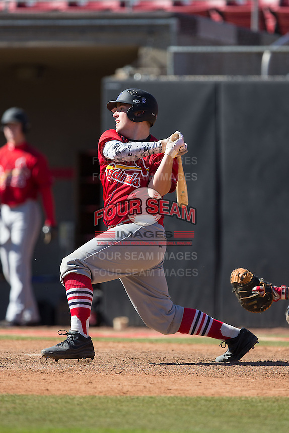 Jake Jessell (12) of Woodland Hills High School in Pittsburgh, Pennsylvania playing for the St. Louis Cardinals scout team at the South Atlantic Border Battle at Doak Field on November 2, 2014.  (Brian Westerholt/Four Seam Images)