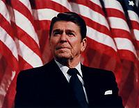 President Ronald Reagan speaking at a Rally for Senator Durenberger in Minneapolis, Minnesota,  8 February 1982<br /> <br /> PHOTO : Michael Evans
