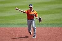 UTSA Roadrunners shortstop Joshua Lamb (2) makes a throw to first base against the Charlotte 49ers at Hayes Stadium on April 18, 2021 in Charlotte, North Carolina. (Brian Westerholt/Four Seam Images)