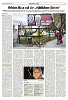 Augsburger Allgemeine (German daily) on EU-Hungarian relations under Viktor Orban. Budapest, Hungary, 03.2019.<br /> Text and Photo: Martin Fejer