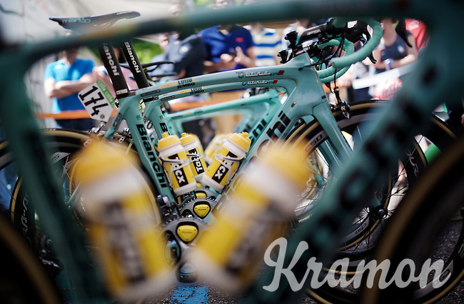 team bikes (of Team LottoNL-Jumbo) ready to support the pink jersey<br /> <br /> stage 17: Molveno-Cassano d'Adda 196km<br /> 99th Giro d'Italia 2016