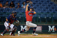 Jacksonville Jumbo Shrimp Corey Bird (32) at bat in front of catcher Carlos Martinez (54) during a Southern League game against the Mississippi Braves on May 4, 2019 at Trustmark Park in Pearl, Mississippi.  Mississippi defeated Jacksonville 2-0.  (Mike Janes/Four Seam Images)