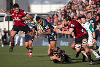 Jona Nareki is tackled during the 2020 Super Rugby match between the Crusaders and Highlanders at Orangetheory Stadium in Christchurch, New Zealand on Saturday, 9 August 2020. Photo: Joe Johnson / lintottphoto.co.nz