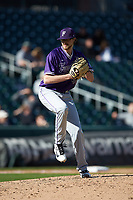 Furman Paladins relief pitcher Hank Nichols (43) in action against the Wake Forest Demon Deacons at BB&T BallPark on March 2, 2019 in Charlotte, North Carolina. The Demon Deacons defeated the Paladins 13-7. (Brian Westerholt/Four Seam Images)