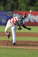 Victor Alcantara #45 of the Burlington Bees pitches against the Clinton LumberKings at Community Field  on July 3, 2014 in Burlington, Iowa. The LumberKings beat the Bees 6-5.   (Dennis Hubbard/Four Seam Images)
