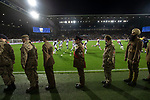 The home players going through a last-minute warm up as Sikh soldiers prepare to leave the pitch before West Bromwich Albion take on Leeds United in a SkyBet Championship fixture at the Hawthorns. Formed in 1878, the home team were relegated from the English Premier League the previous season and were aiming to close the gap on the visitors at the top of the table. Albion won the match 4-1 watched by a near-capacity crowd of 25,661.