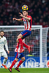 Saul Niguez Esclapez of Atletico de Madrid heads the ball during the La Liga 2017-18 match between Atletico de Madrid and Real Madrid at Wanda Metropolitano  on November 18 2017 in Madrid, Spain. Photo by Diego Gonzalez / Power Sport Images