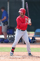 Exicardo Cayones #46 of the Los Angeles Angels bats during a Minor League Spring Training Game against the Chicago Cubs at the Los Angeles Angels Spring Training Complex on March 23, 2014 in Tempe, Arizona. (Larry Goren/Four Seam Images)