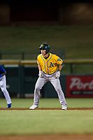 AZL Athletics pinch runner Adrian Spitz (4) leads off second base during a game against the AZL Cubs on August 9, 2017 at Sloan Park in Mesa, Arizona. AZL Athletics defeated the AZL Cubs 7-2. (Zachary Lucy/Four Seam Images)