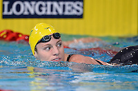 Emily Seebohm of AUS leaves pool after competing in 50 meter backstroke semifinal  during Commonwealth Games Swimming, Monday, July 28, 2014 in Glasgow, United Kingdom. (Mo Khursheed/TFV Media via AP Images)
