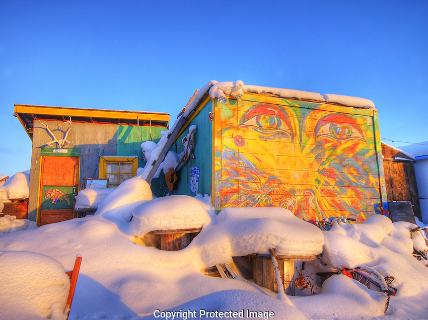 Bright painted wall on Woodyard shack in winter