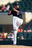 Detroit Tigers pitcher Cory Riordan (90) delivers a pitch during an exhibition game against the Florida Southern Moccasins on February 29, 2016 at Joker Marchant Stadium in Lakeland, Florida.  Detroit defeated Florida Southern 7-2.  (Mike Janes/Four Seam Images)