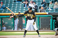Kyle Kubitza (10) of the Salt Lake Bees at bat against the Sacramento River Cats in Pacific Coast League action at Smith's Ballpark on April 20, 2015 in Salt Lake City, Utah.  (Stephen Smith/Four Seam Images)