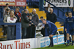 FC United of Manchester 8, Glossop North End 0, 28/10/2006. Gigg Lane, Bury, North West Counties League division one. Glossop North End players talk to their supporters after being defeated 8-0 by FC United of Manchester in a North West Counties division one match at United's home stadium, Gigg Lane, home to Bury FC. The match was staged on People United Day, an event started in 1999 which brought together fans from across Europe to campaign against racism. FC United were formed in the summer of 2005 by supporters of Manchester United in response to the take over of their club by American millionaire Malcolm Glazer and his family. The club entered the football pyramid at the lowest level with the intention to climbing through the leagues. FCUM won the match 8-0, watched by 3257 spectators. Photo by Colin McPherson.