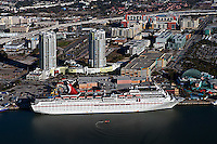 aerial photograph Carnival Cruise ship berthed Tampa Florida