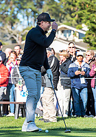 9th February 2020, Pebble Beach, Carmel, California, USA; Steve Young tips his hat to the gallery before teeing off in the championship round of the AT&T Pro-Am on Sunday