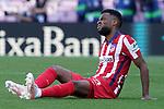 Atletico de Madrid's Thomas Lemar injured during La Liga match. May 8, 2021. (ALTERPHOTOS/Acero)
