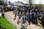 The breakaway group on one of the pave sectors during the 116th edition of Paris-Roubaix 2018. 8th April 2018.<br /> Picture: ASO/Pauline Ballet | Cyclefile<br /> <br /> <br /> All photos usage must carry mandatory copyright credit (© Cyclefile | ASO/Pauline Ballet)