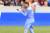 Houston, TX - Friday December 9, 2016: Andy Lopez (23) of the North Carolina Tar Heels celebrates after making his kick in the overtime shootout against the Stanford Cardinal at the NCAA Men's Soccer Semifinals at BBVA Compass Stadium in Houston Texas.