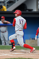 Williamsport Crosscutters outfielder Cord Sandberg (17) at bat during the first game of a doubleheader against the Batavia Muckdogs on July 29, 2014 at Dwyer Stadium in Batavia, New York.  Williamsport defeated Batavia 3-2.  (Mike Janes/Four Seam Images)