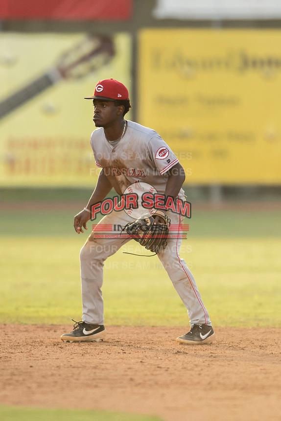 Ivan Johnson (4) of the Greeneville Reds in action during a game against the Bristol Pirates at Boyce Cox Field on July 31, 2019 in Bristol, Virginia. The Pirates defeated the Reds 13-3. (Tracy Proffitt/Four Seam Images)