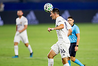 CARSON, CA - OCTOBER 07: Sacha Kljestan #16 of the Los Angeles Galaxy heads a ball during a game between Portland Timbers and Los Angeles Galaxy at Dignity Heath Sports Park on October 07, 2020 in Carson, California.