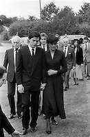 Pix: Copyright Anglia Press Agency/Archived via SWpix.com. The Bamber Killings. August 1985. Murders of Neville and June Bamber, daughter Sheila Caffell and her twin boys. Jeremy Bamber convicted of killings serving life...copyright photograph>>Anglia Press Agency>>07811 267 706>>..Jeremy Bamber and girlfriend Julie Mugford at funerals. no date..ref 0003 neg 32...
