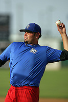 April 17, 2010: Robert Fish of the Rancho Cucamonga Quakes before game against the Lancaster JetHawks at Clear Channel Stadium in Lancaster,CA.  Photo by Larry Goren/Four Seam Images