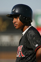 Freddy Guzman of the Lake Elsinore Storm before a game against the Rancho Cucamonga Quakes at The Epicenter on July 3, 2003 in Rancho Cucamonga, California. (Larry Goren/Four Seam Images)