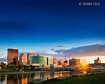 Dayton Ohio skyline evening with blue sky