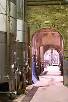 The vat hall with fermentation tanks. Albet i Noya. Fermentation tanks. Penedes Catalonia Spain
